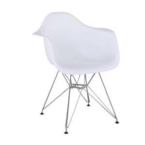Modern szék, króm + fehér, FEMAN