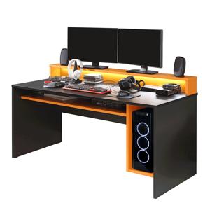 Számítógépasztal/gamer asztal, fekete matt/narancssárga, TEZRO