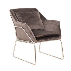 Dizájn fotel, sötétszürke/króm, KADAR