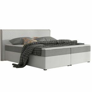 Kényelmes dupla ágy, textilbőr fehér/szürke, NOVARA KOMFORT