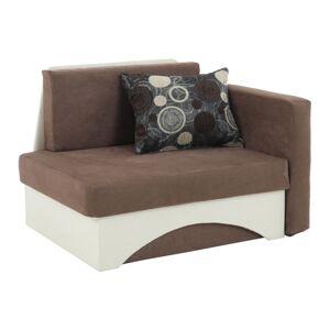 Kanapé fotel ágyfunkcióval, barna+bézsszínű, jobbos KUBOS