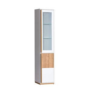 Vitrines szekrény, dió select/fehér, KNOX E3