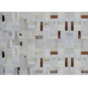 Luxus bőrszőnyeg, fehér/szürke/barna , patchwork, 120x180, bőr TIP 1