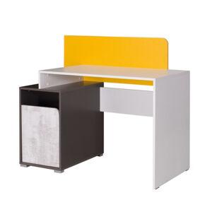 PC asztal B8, fehér/szürke grafit/enigma/sárga, MATEL