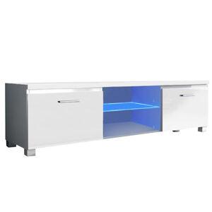 RTV asztal, fehér/fehér extra magasfényű HG, LUGO 2