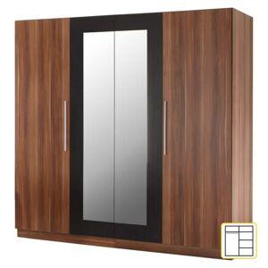 Négyajtós szekrény, tükrös, diófa/fekete, MARTINA