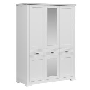 Háromajtós szekrény tükörrel, fehér, ARYAN 3D