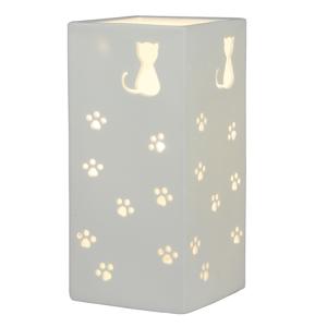 Kerámia asztali lámpa, fehér/macska mintás, BELLE TYP 2