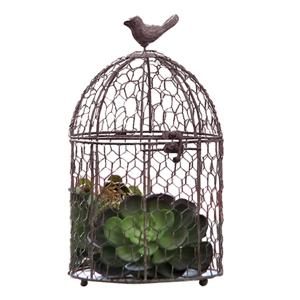 Dekoratív madárház, fém, szürkésbarna, BIRIN TYP 2