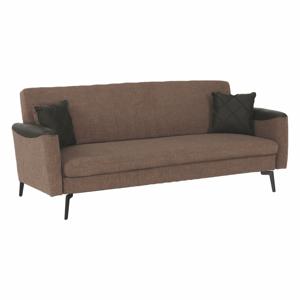 Széthúzhatós kanapé, barna/sötétzöld/fekete, DETA