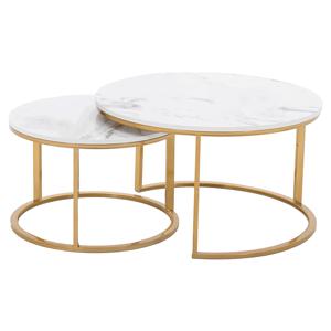 2 darabos dohányzóasztal szett, arany/márvány imitáció, DEVNET