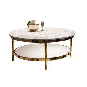 Dohányzóasztal, világos márvány fényes/fényes fehér/arany, ENION