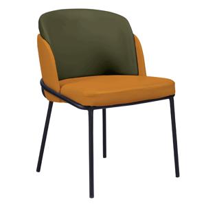 Dizájn fotel, narancssárga/zöld, ekobőr, GANON