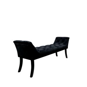 Dizájnos pad, fekete Velvet szövet/kaucsukfa, HEMY