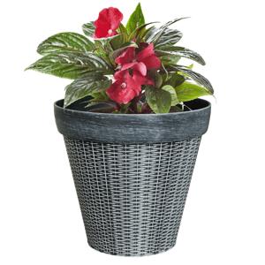 Műanyag virágcserép, szürke, IROM TYP 1