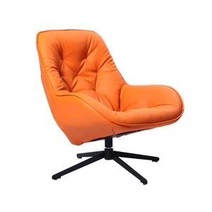 Luxus forgó fotel, ekobőr narancssárga/fém, JAELYN