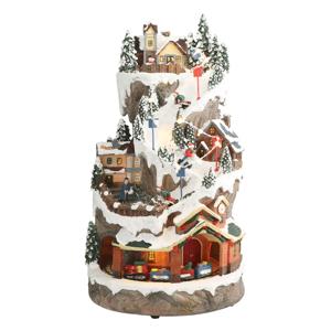 Karácsonyi zenélő dekoráció, fehér, fekete/karácsonyi minta, JOACHIM