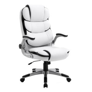 Irodai szék, textilbőr, fehér/fekete, SARAKA
