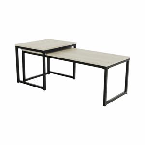 2 dohányzóasztal szett, tölgy sonoma/fekete, KASTLER TYP 2