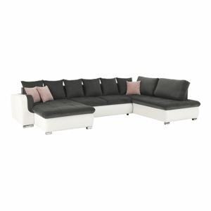 U alakú ülőgarnitúra, textilbőr fehér/szürke szövet/púder rózsaszín párnák, jobbos, KASTOR