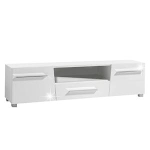 TV asztal, fehér  extra magas  HG fénnyel , STRAGY TIP 6