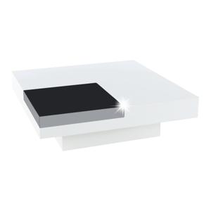 Dohányzóasztal, fehér extra magas fényű HG/fekete fényes, ELIOT