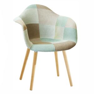 Fotel, anyag patchwork/menta/barna/bükk, KADIR NEW TIP 5