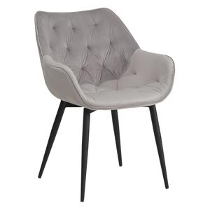 Dizájnos fotel, világos szürke anyag, FEDRIS