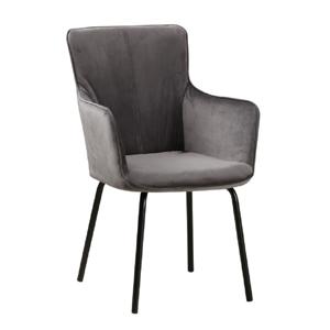 Dizájnos fotel, szürke bársony/fekete, VETAR