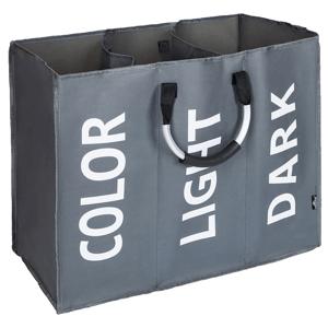 Szövet szennyeskosár, szürke/ezüst/fehér, DEKLIN