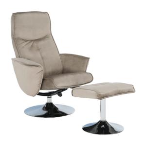 Fotel lábtartóval, barnásszürke szín, LONATO