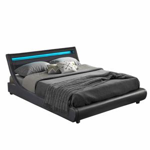 Dupla ágy RGB LED világítással, fekete, 160x200, FELINA