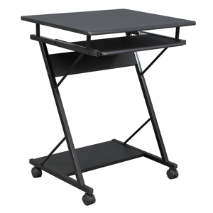 Mozgatható számítógépasztal/Gamer asztal kerekekkel, fekete, TARAK
