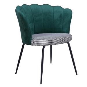Dizájn fotel, Art-deco, szövet smaragd/mintás, NELIN