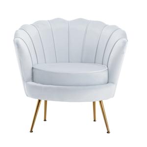 Fotel Art-deco stílusban, szürke-kék Velvet anyag/gold chróm-arany, NOBLIN
