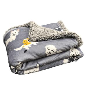 Kétoldalas bárány takaró, szürke/gyerekmintás, 80x110cm, PETES