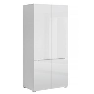 Akasztós szekrény 4D, fehérfehér extra magasfényű HG, JOLK