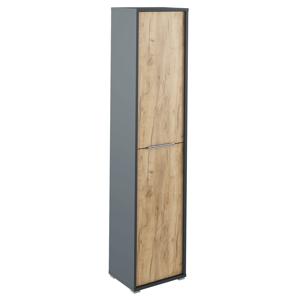 Magas szekrény polcokkal, grafit/tölgyfa artisan, RIOMA NEW TYP 06