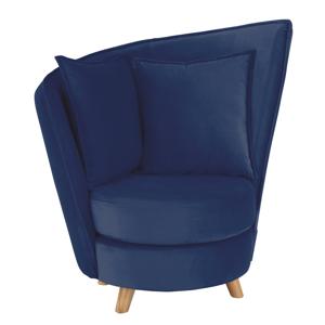 Fotel Art Deco stílusban, kék Velvet anyag/tölgy, ROUND