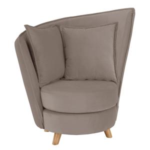 Fotel Art Deco stílusban, szürke-barna Taupe Velvet anyag/tölgy, ROUND