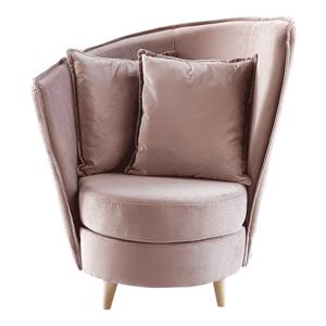 Fotel Art Deco stílusban, rózsaszín Kronos szövet/tölgy, ROUND NEW