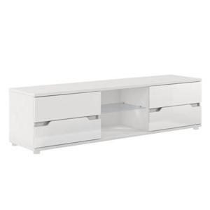 RTV asztal, fehér/fehér extra magasfényű, ADONIS AS 30