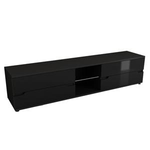 TV asztal, fekete/fekete extra magas  fénnyel, ADONIS AS 30