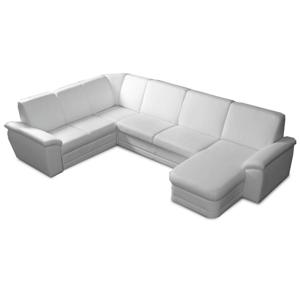 U alakú ülőgarnitúra, textilbőr fehér, jobbos, BITER U