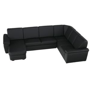U alakú ülőgarnitúra, fekete textilbőr, balos, BITER U