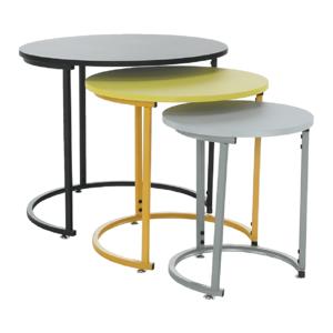Szett három kisasztal, fekete/sárga/szürke, RONEL NEW