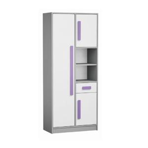 Kombinált szekrény, fehér/szürke/lila, PIERE P03