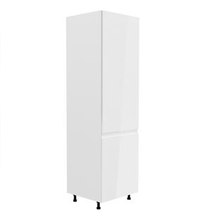 Hűtő beépítő szekrény, fehér/fehér extra magasfényű, jobbos, AURORA D60ZL