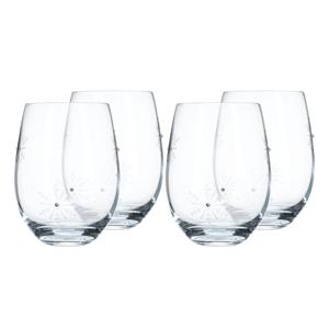 Poharak, 4 db-os szett, 530 ml, átlátszó/fehér, SNOWFLAKE STRIK