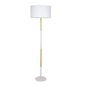 Állólámpa, fehér alumínium/fa minta,  CINDA TIP 20 YF6046